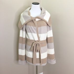 Banana Republic Tan Cream Striped Sweater Jacket